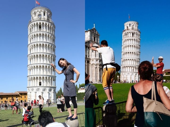Tourists taking photos of the Cathedral and Leaning Tower