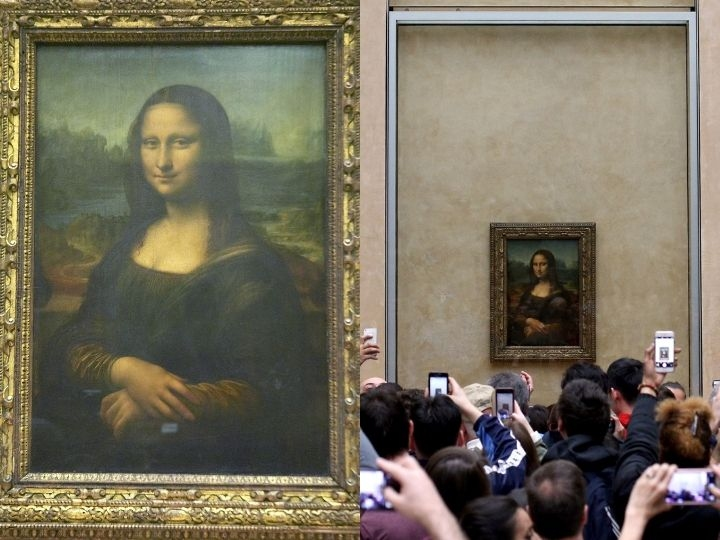 Visitors take pictures of 'La Joconde', a 1503-1506 oil on wood portrait of Mona Lisa by Leonardo Da Vinci, at the Louvre Museum in Paris, on April 9, 2018.