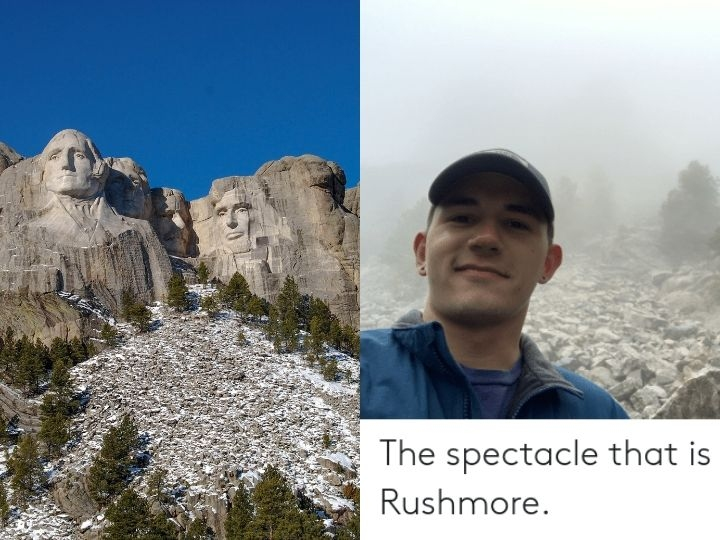 Rushmore, monument, fog, tourist