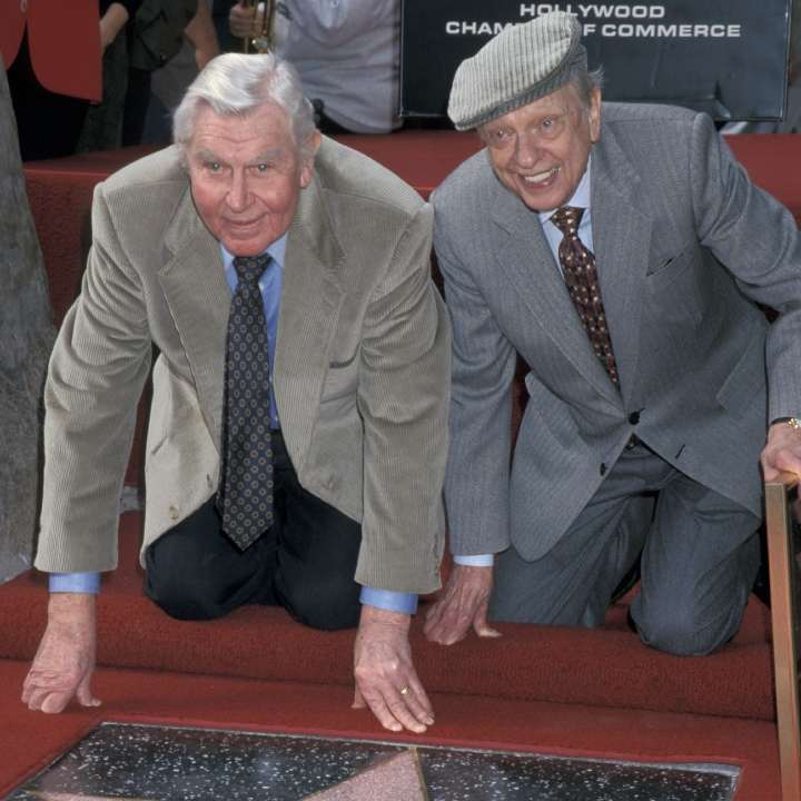 Andy Griffith and Don Knotts during Don Knotts Honored with a Star on the Hollywood Walk of Fame at Hollywood Boulevard in Hollywood, California, United States.