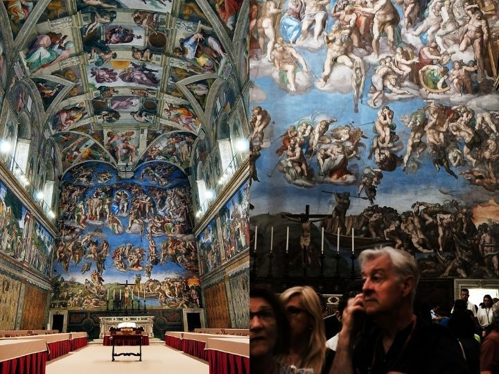 People walk through the Sistine Chapel at the Vatican Museums on September 01, 2018 in Vatican City, Vatican.