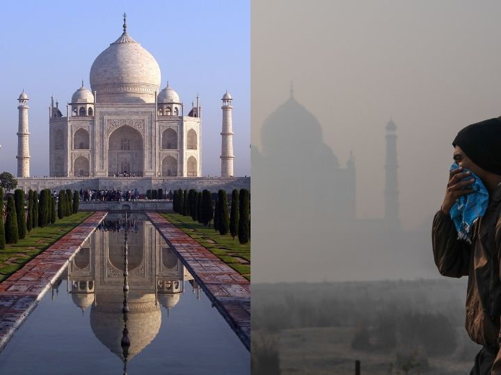 A tourist seen covering his face striving to guard himself from immense pollution in front of Taj Mahal, which is half concealed in smoke. Air pollution is one of the major causes that is responsible to trigger asthma.