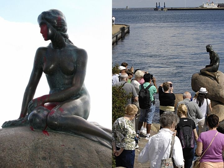 Copenhagen / Denmark. _Tourists are watching and photographing to Little Mermaid at langeline 31 July 2013