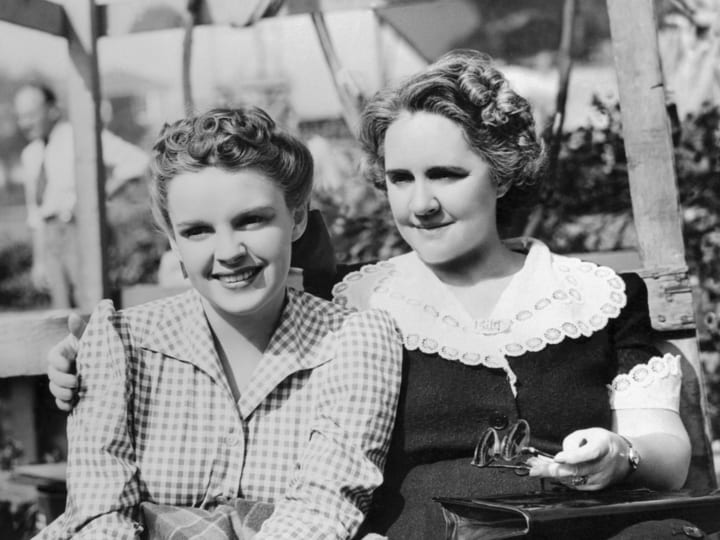 Judy Garland with her mom