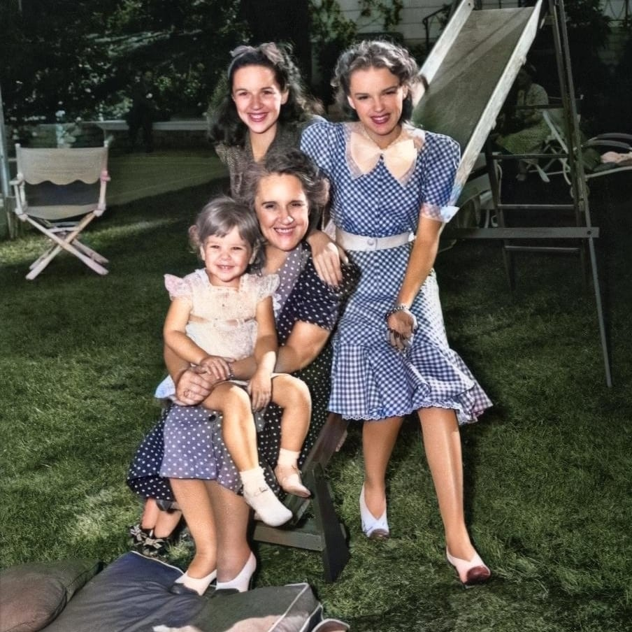 Judy Garland with mother and family