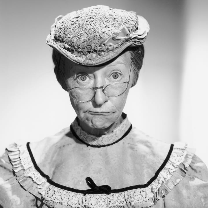 "Close-up of Irene Ryan as ""Granny"" from the television series ""The Beverly Hillbillies."" Ca. 1960s."