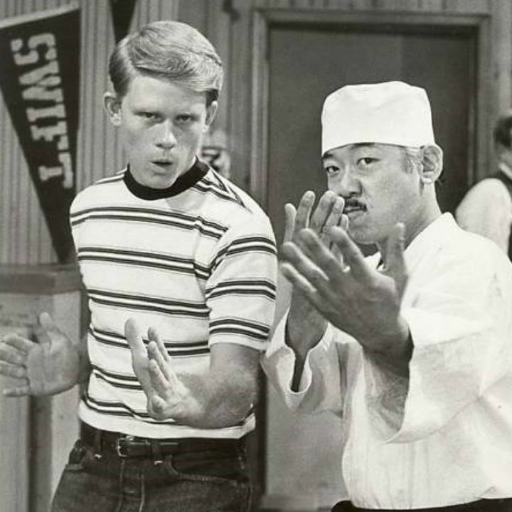 ron howard and pat morita practicing karate
