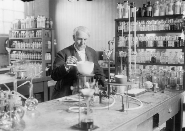 Thomas Alva Edison, in laboratory