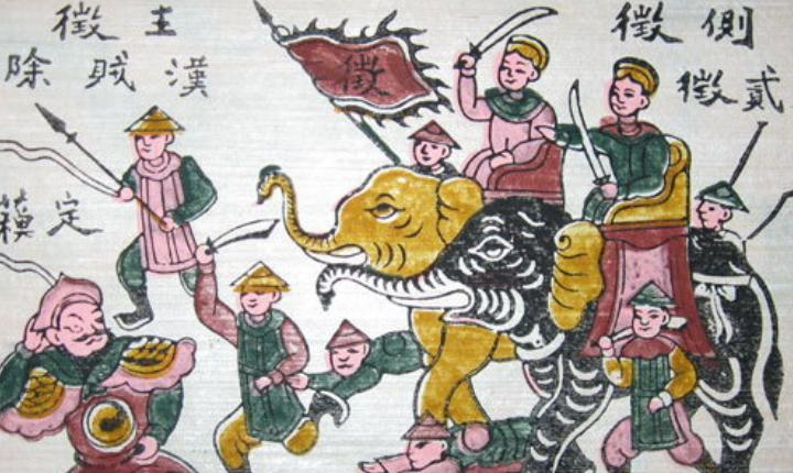 Đông Hồ painting of the Trung sisters