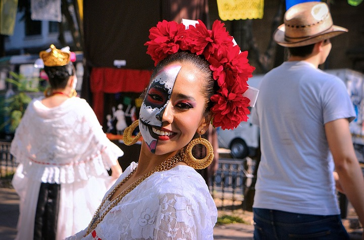 Lady with Face Painted Celebrating Day of the Dead