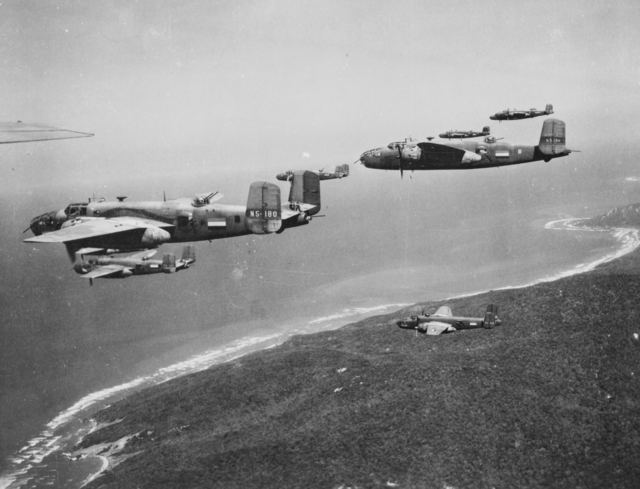 Several B-25 Mitchells in Flight